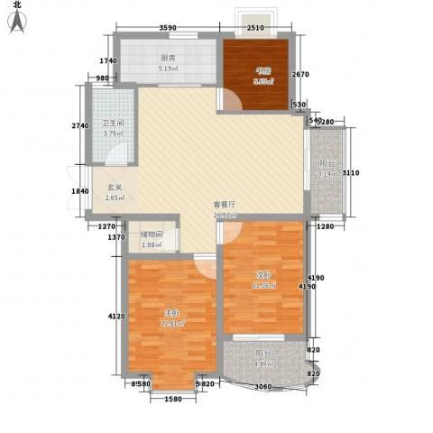 骏和天城3室1厅1卫1厨108.00㎡户型图