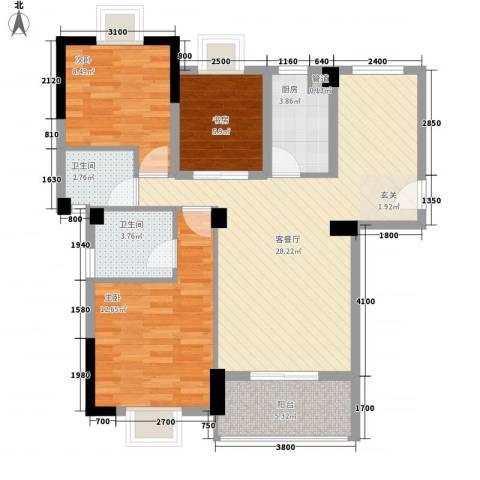 金利蓝湾新城3室1厅2卫1厨89.00㎡户型图