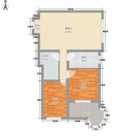 帝景公馆2室1厅1卫1厨95.00㎡户型图