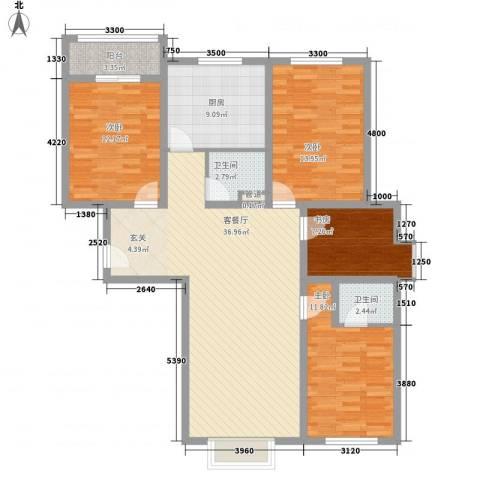 东方之珠龙腾苑4室1厅2卫1厨143.00㎡户型图