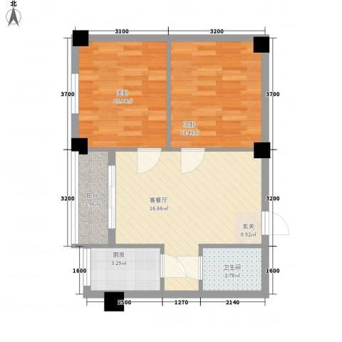 良友新苑2室1厅1卫1厨66.00㎡户型图