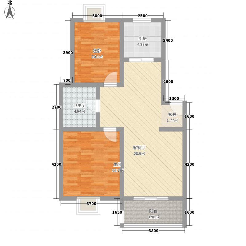 华顺・九狮水岸13-2户型2室2厅1卫1厨