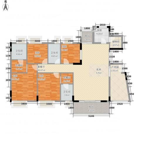 金色华庭二期4室1厅3卫1厨189.00㎡户型图