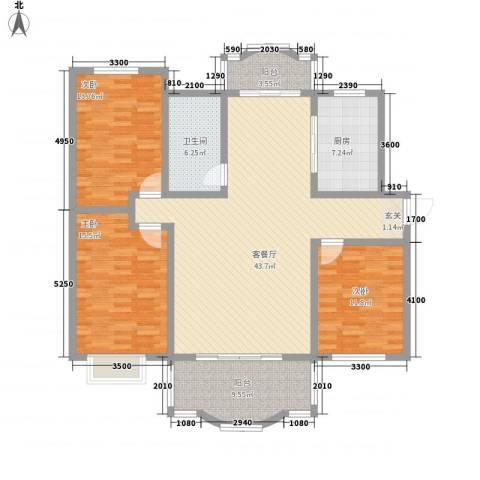 星湖101广场3室1厅1卫1厨159.00㎡户型图
