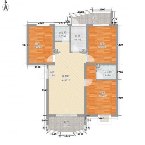 国际丽都城3室1厅2卫1厨124.00㎡户型图