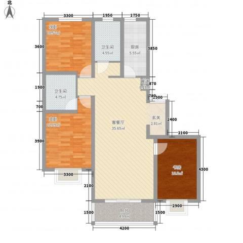 名都中央广场3室1厅2卫1厨130.00㎡户型图
