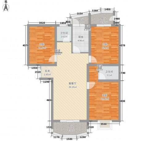 国际丽都城3室1厅2卫1厨131.00㎡户型图