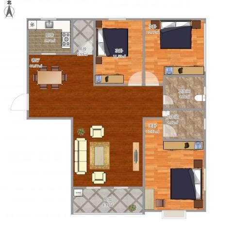 西湖花园3室1厅2卫1厨145.00㎡户型图