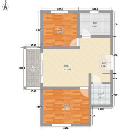 名都中央广场2室1厅1卫1厨130.00㎡户型图