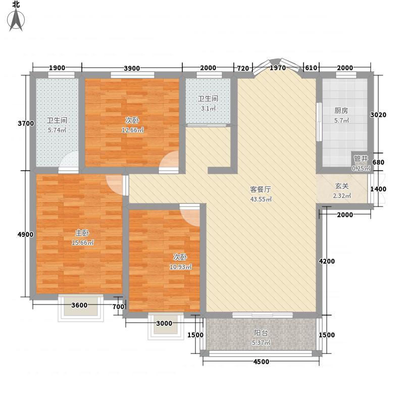 紫金风景线15.00㎡M户型3室2厅2卫1厨