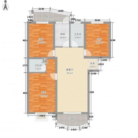 国际丽都城3室1厅2卫1厨133.00㎡户型图