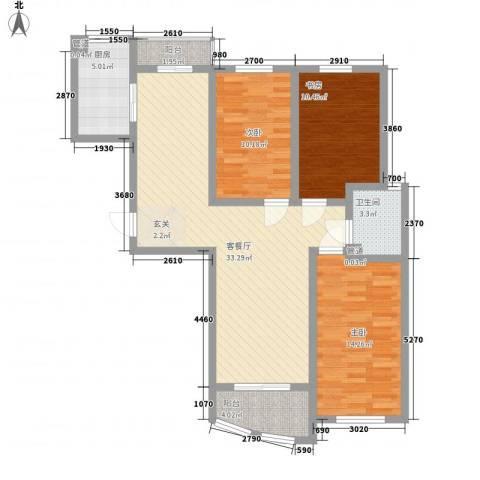 海杨城二期3室1厅1卫1厨120.00㎡户型图
