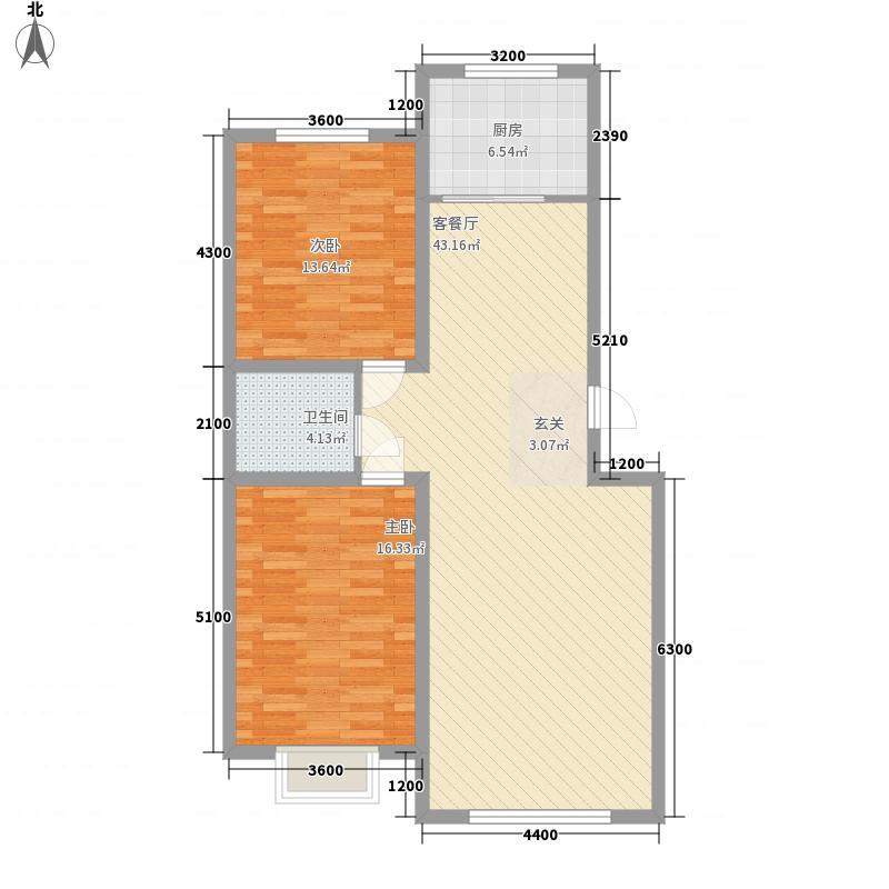 新泰花苑77.30㎡B户型2室2厅1卫1厨