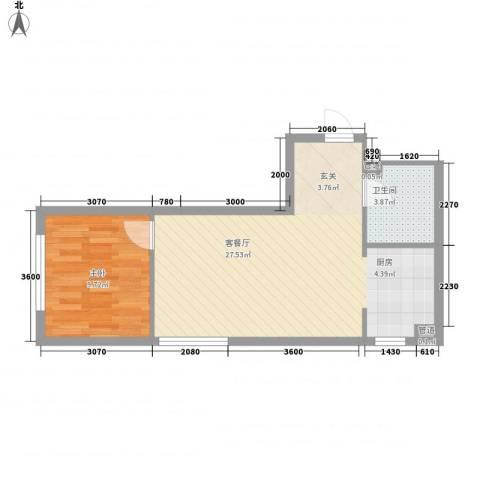 北欧假日三期1室1厅1卫0厨58.00㎡户型图