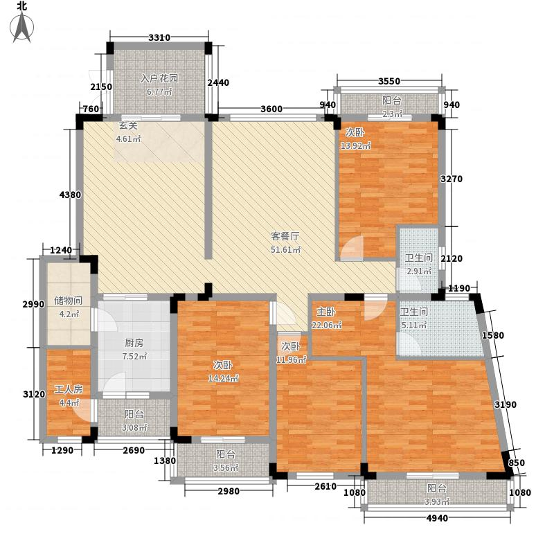 南国明珠二期192.95㎡a-2户型4室2厅2卫1厨