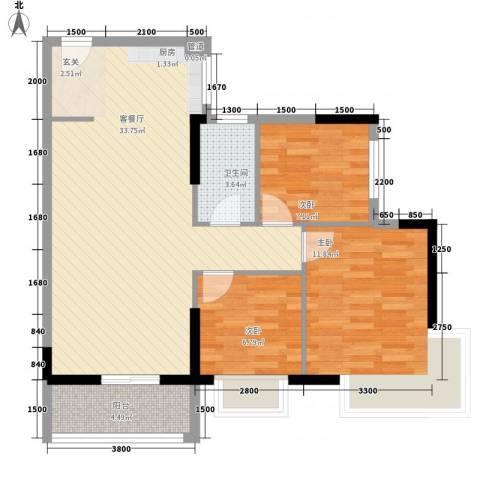 顺景蔷薇山庄四期3室1厅1卫0厨67.65㎡户型图