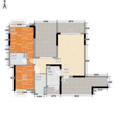 海杨城二期2室1厅2卫1厨99.99㎡户型图