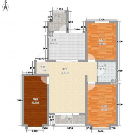 星湖101广场3室1厅1卫1厨124.00㎡户型图