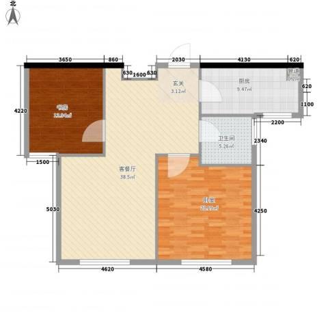 美域盛景1室1厅1卫1厨87.56㎡户型图