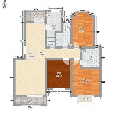 万峰小区二期3室1厅2卫1厨108.00㎡户型图