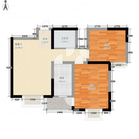 海杨城二期2室1厅1卫1厨166.00㎡户型图