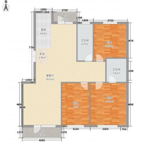 美域盛景1厅2卫0厨143.00㎡户型图