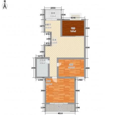 万和公寓3室1厅1卫1厨70.70㎡户型图