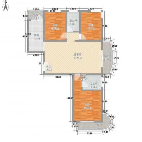 国际丽都城3室1厅2卫1厨136.00㎡户型图