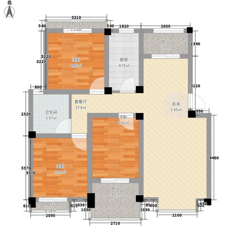 骏和天城105.00㎡K2户型3室2厅2卫1厨