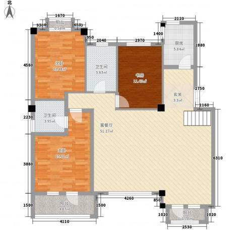 米拉晶典3室1厅2卫1厨216.00㎡户型图