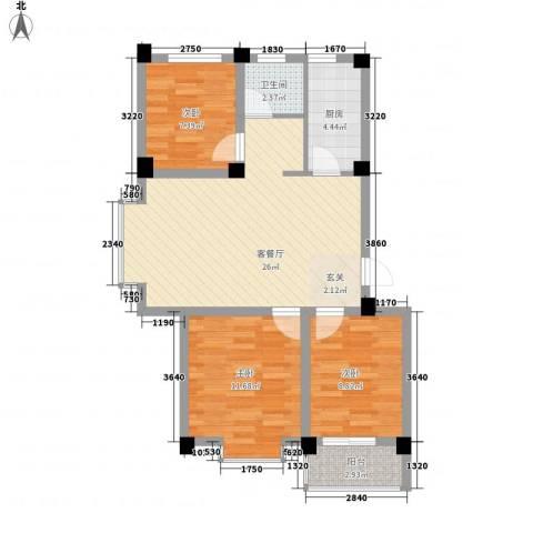 骏和天城3室1厅1卫1厨91.00㎡户型图