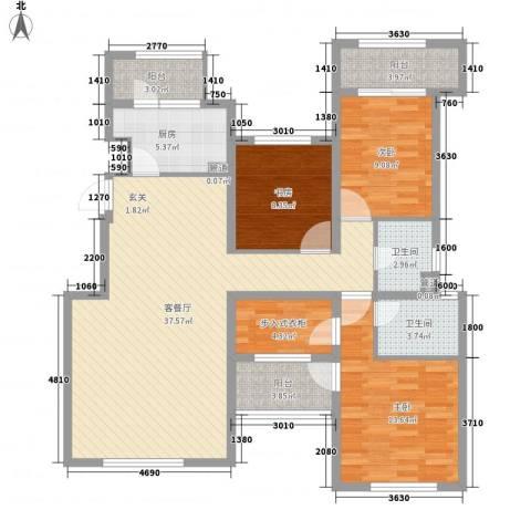 融科玖玖城3室1厅2卫1厨139.00㎡户型图