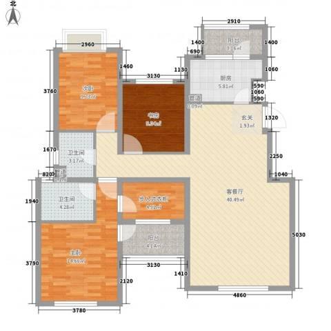 融科玖玖城3室1厅2卫1厨142.00㎡户型图