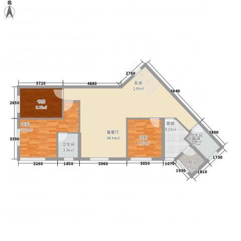大财门3室1厅2卫1厨124.00㎡户型图