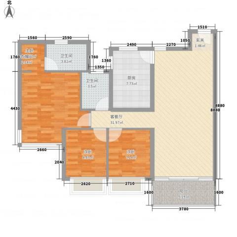 雍翠雅园3室1厅2卫1厨118.00㎡户型图