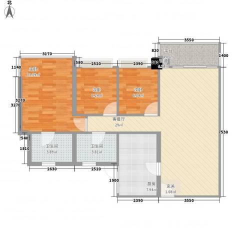 雍翠雅园3室1厅2卫1厨104.00㎡户型图