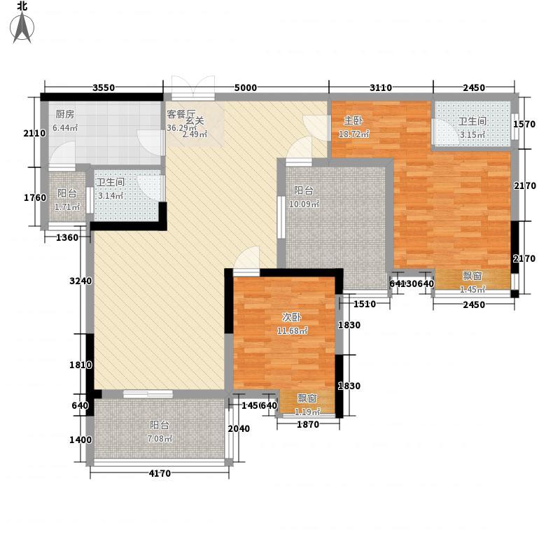 玉龙居115.80㎡D-D1型户型2室2厅2卫1厨
