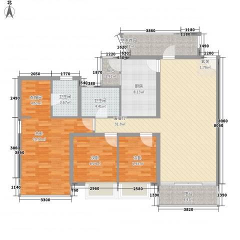 雍翠雅园3室1厅2卫1厨137.00㎡户型图