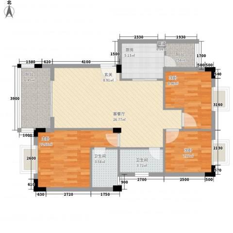 愉翠雅园3室1厅2卫1厨76.76㎡户型图