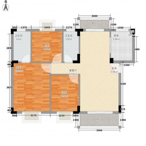 愉翠雅园3室1厅2卫1厨81.48㎡户型图