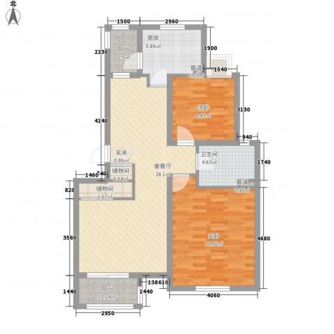 证大家园四期2室1厅1卫1厨87.00㎡户型图