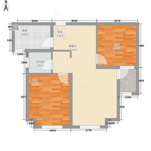 君豪・绿园2室1厅1卫1厨58.22㎡户型图