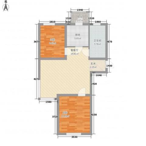 境界梅江观秀2室1厅1卫1厨88.00㎡户型图