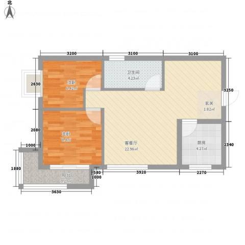 瑞丰新欣城2室1厅1卫1厨74.00㎡户型图