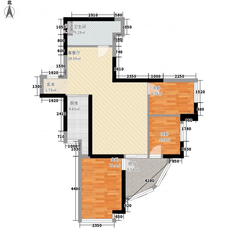 朝阳民惠城1.42㎡Q1户型3室2厅1卫1厨