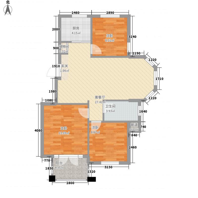 翰林名苑98.80㎡翰林名苑户型图花园洋房户型三3室2厅1卫1厨户型3室2厅1卫1厨
