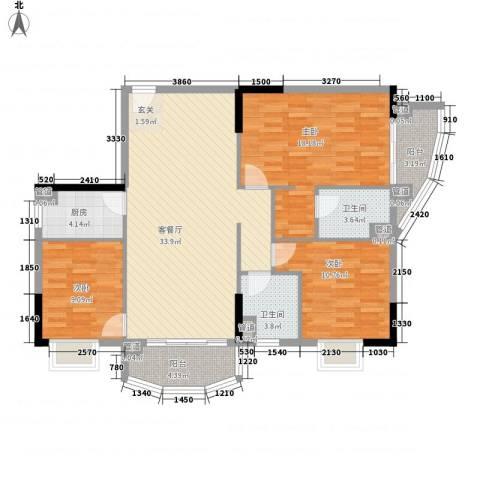 富邦名寓3室1厅2卫1厨134.00㎡户型图