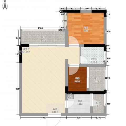 金马香颂居2室1厅1卫1厨77.00㎡户型图