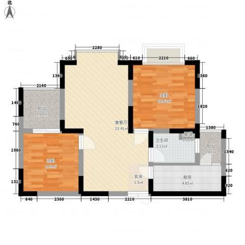海杨城二期2室1厅1卫1厨83.00㎡户型图
