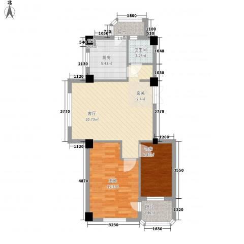 香岛丽湾2室1厅1卫1厨74.00㎡户型图